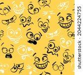 funny cartoon faces seamless... | Shutterstock .eps vector #2044224755