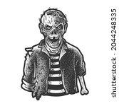 zombie sketch engraving vector... | Shutterstock .eps vector #2044248335