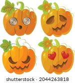 vector pumpkins with different... | Shutterstock .eps vector #2044263818