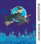 ominous halloween witch flying... | Shutterstock .eps vector #2044292918