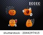 halloween pumpkins in vector... | Shutterstock .eps vector #2044297415