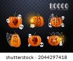 halloween pumpkins in vector... | Shutterstock .eps vector #2044297418