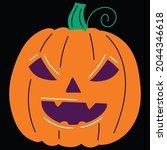 halloween pumpkin icon vector... | Shutterstock .eps vector #2044346618