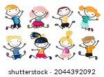 happy school kids jump vector... | Shutterstock .eps vector #2044392092