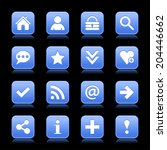 16 blue satin icon with white...