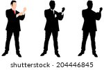 business man buttoning his... | Shutterstock .eps vector #204446845