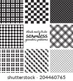 set of black and white seamless ... | Shutterstock .eps vector #204460765