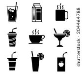 vector beverage icons | Shutterstock .eps vector #204464788