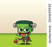 happy halloween. cartoon cute...   Shutterstock .eps vector #2044659935