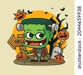 cartoon little green monster...   Shutterstock .eps vector #2044659938