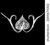 symmetrical floral vignette.... | Shutterstock .eps vector #2044674302