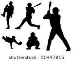 baseball silhouettes in vector... | Shutterstock .eps vector #20447815