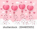 a heart shape. paper art style. ... | Shutterstock .eps vector #2044855052