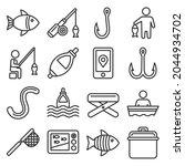 fishing icons set on white... | Shutterstock . vector #2044934702