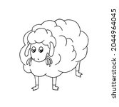 an indifferent sheep chews the...   Shutterstock .eps vector #2044964045