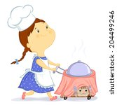 little girl carries a cart with ... | Shutterstock . vector #204499246