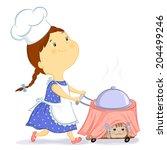 little girl carries a cart with ... | Shutterstock . vector #204499246
