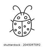 ladybug linear icon. thin line... | Shutterstock .eps vector #2045097092