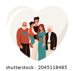 happy family vector... | Shutterstock .eps vector #2045118485