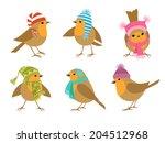 funny robins birds in winter... | Shutterstock .eps vector #204512968