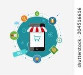 online mobile shopping concept... | Shutterstock .eps vector #204516616