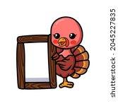 Cute Baby Turkey Cartoon With...