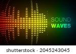sound waves oscillating dark... | Shutterstock .eps vector #2045243045