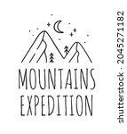 hand drawn mountain logo set.... | Shutterstock . vector #2045271182