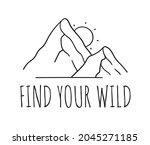 hand drawn mountain logo set.... | Shutterstock . vector #2045271185