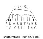hand drawn mountain logo set.... | Shutterstock . vector #2045271188
