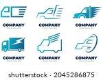 set of gradient colored truck... | Shutterstock .eps vector #2045286875