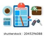 car insurance form concept... | Shutterstock .eps vector #2045296088