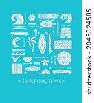 surfing background. tribal... | Shutterstock .eps vector #2045324585