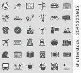 travel icons. sticker design.... | Shutterstock .eps vector #2045325605
