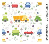 seamless background with cars ... | Shutterstock .eps vector #2045346815