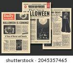 halloween postcards old... | Shutterstock .eps vector #2045357465