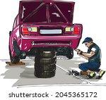 a car mechanic repairing an old ... | Shutterstock .eps vector #2045365172