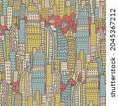 big city metropolis with modern ... | Shutterstock .eps vector #2045367212