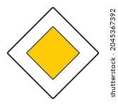 priority road sign  vector icon | Shutterstock .eps vector #2045367392