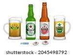 set of realistic beer glasses...   Shutterstock .eps vector #2045498792