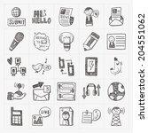 doodle communication icons set | Shutterstock .eps vector #204551062