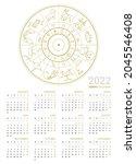 calendar 2022 with horoscope... | Shutterstock .eps vector #2045546408