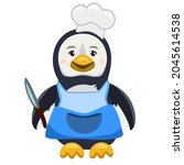 penguin chef with a knife in an ... | Shutterstock .eps vector #2045614538