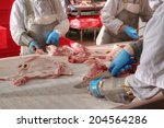 Close Up Of Meat Processing In...