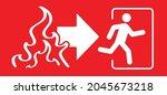 arrow exit route. sgnpost leave ... | Shutterstock .eps vector #2045673218