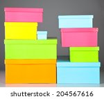 nine boxes isolated on gray | Shutterstock . vector #204567616