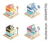 isometric modern shop flat...   Shutterstock .eps vector #2045699702