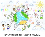 happy friends. sketch on... | Shutterstock .eps vector #204570232