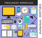 freelancer workplace icons set... | Shutterstock .eps vector #204571822