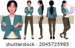 business woman character in...   Shutterstock .eps vector #2045725985